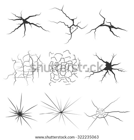 Set of cracks  for disaster design. Different types isolated cracks textures: break of earth, cracks in the wall, glass clefts. Vector background. - stock vector