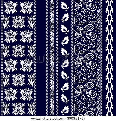 Set of creative bohemian borders. Damask seamless pattern, leaves stripe, gypsy and ethnic motifs, fantasy doodles. Boho textile collection. White on dark blue. - stock vector