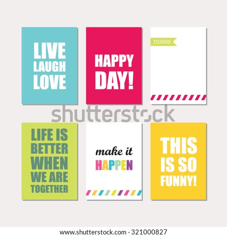 Set of creative cards design. Vector design templates for journal cards, scrapbooking cards, greeting cards, gift cards, patterns, art decoration etc. - stock vector