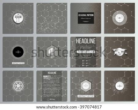 Set of 12 creative cards, square brochure template design. Chemistry pattern, hexagonal design vector illustration. - stock vector