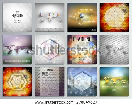Set of 12 creative cards, square brochure template design, geometric backgrounds set, abstract polygonal colorful vector patterns, world map infographics. - stock vector