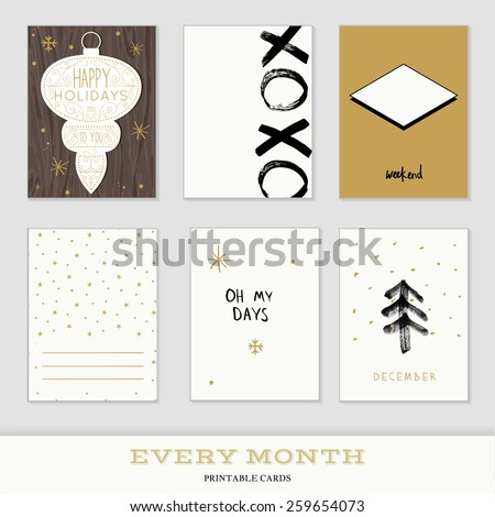 Set of 6 creative christmas journaling cards. Hand Drawn textures made with ink. Every Month Collection - Decembe - stock vector
