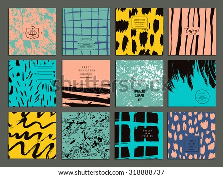 Set of creative freehand cards. Hand Drawn textures made with ink. Vector. Isolated. - stock vector