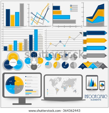 Set of creative infographic elements with statistical bars and graphs for Business presentations. - stock vector