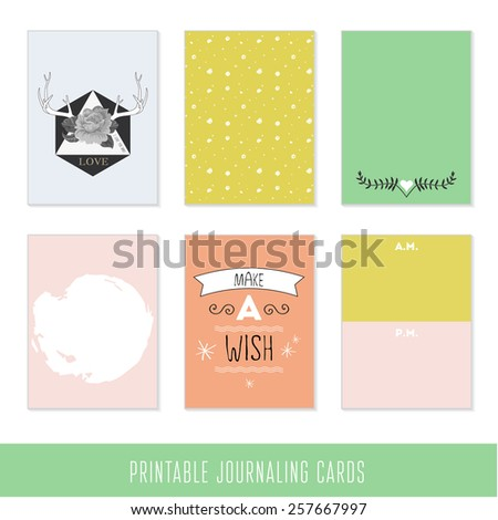Set of 6 creative journaling cards and motivational poster. Hand Drawn textures made with ink.   - stock vector