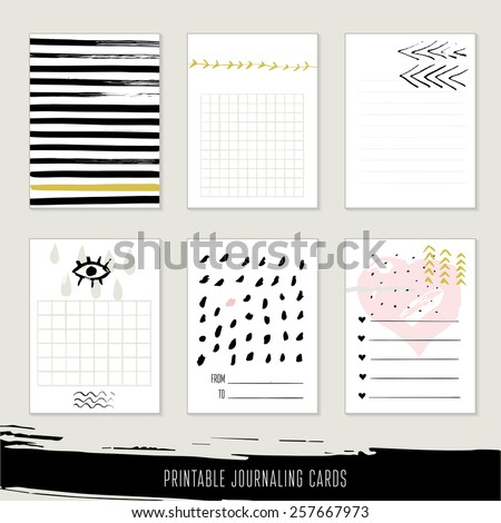 Set of 6 creative journaling cards. Hand Drawn textures made with ink.  - stock vector