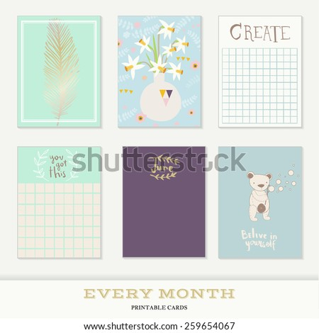 Set of 6 creative journaling cards. Hand Drawn textures made with ink. Every Month Collection - June - stock vector