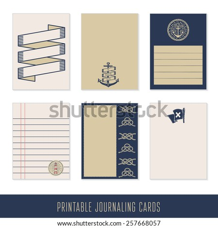 Set of 6 creative journaling cards. Nautical Scrapbook and Design Elements - stock vector