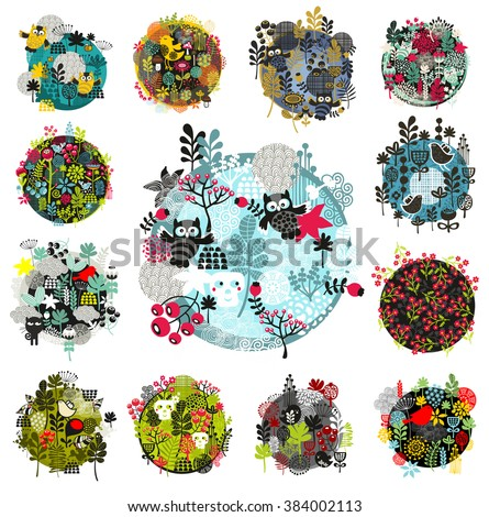 Set of creative round illustrations with flora and fauns objects. Cool print for the greeting card in vector. - stock vector