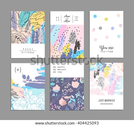 Set of creative universal floral cards with place for your text. Art posters. Hand Drawn textures. Wedding, anniversary, birthday, Valentin's day, party invitations. Vector. Isolated. - stock vector