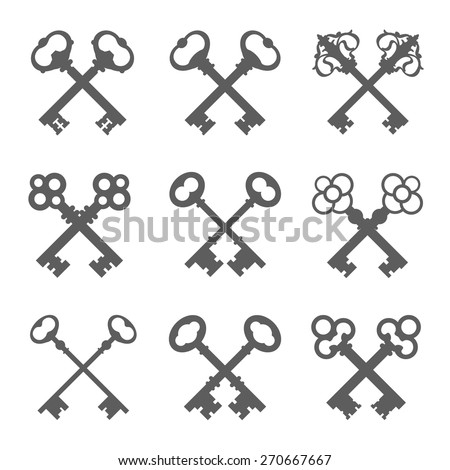 Set of crossed keys silhouettes vector illustration - stock vector