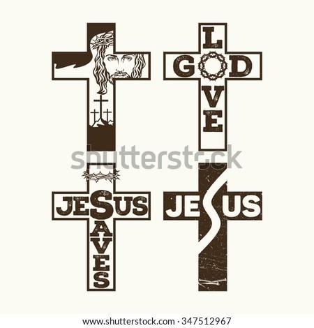 Set of crosses. Jesus, God, Crown of thorns. - stock vector