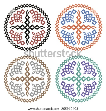 Set of crosses with braided ornament - stock vector
