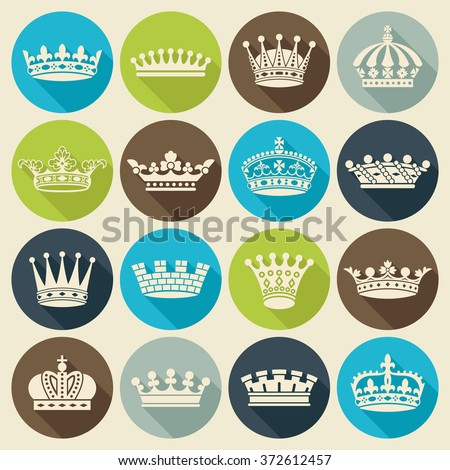 Set of crown heraldic silhouette flat icons long shadow style - stock vector