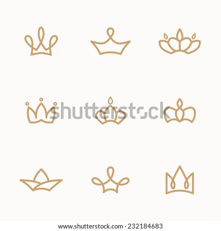 set of crowns and caps - stock vector