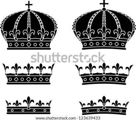 Set of crowns. stencils - stock vector