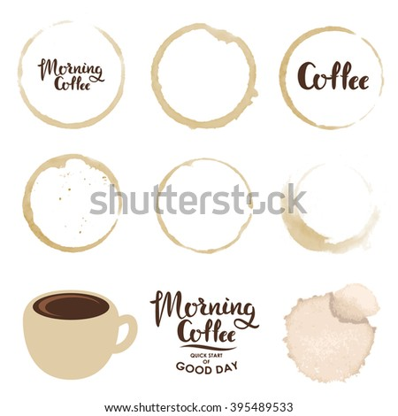 Set of cup stains. Morning coffee. Vector design elements. - stock vector
