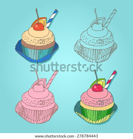 Set of cupcakes with cherry and lemon on the top - stock vector