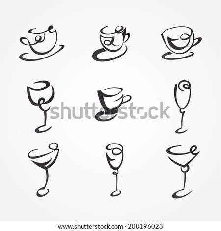 set of cups and glasses - stock vector