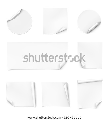 Set of curled stickers. Vector illustration - stock vector