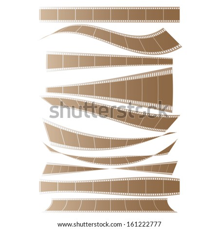set of curved films background vector - stock vector
