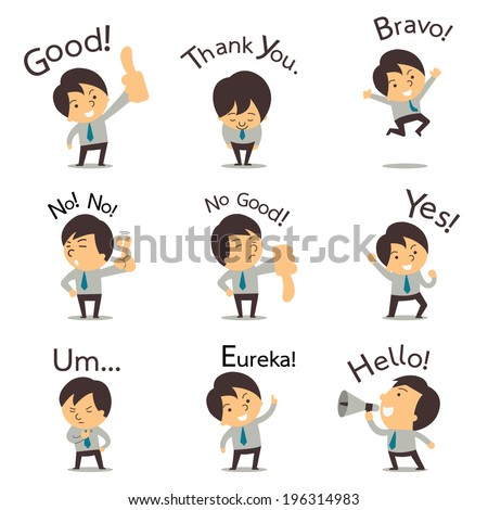 Set of cut businessman or office worker pose in various characters expressing feeling and emotion in communication concept. There is more set 2 in my porfolio.  - stock vector