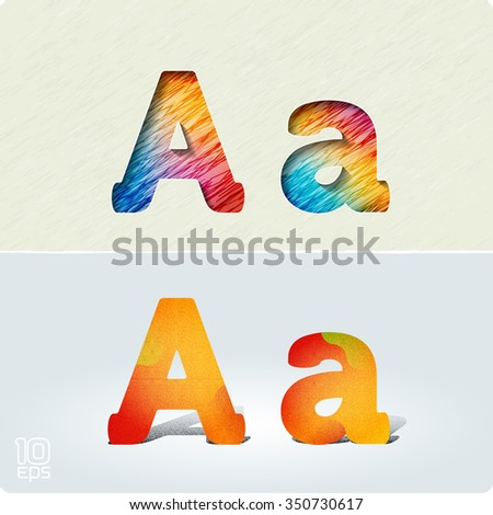 """Set of cut paper vector letters and bright, positive letters with noise and shadows. The capital letters """"A"""" and lowercase """"a.""""  EPS10. - stock vector"""