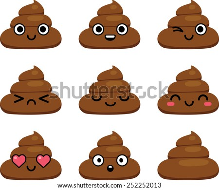 set of cut poop emoticon smileys  isolated on white background - stock vector