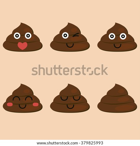 set of cut poop emoticon smileys isolated - vector - stock vector