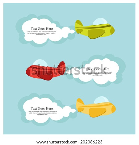 set of cute airplanes with clouds - stock vector