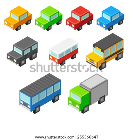 Set of cute and stylish isometric cartoon vehicles. - stock vector