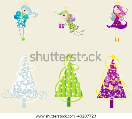 Set of cute angels and christmas trees - stock vector