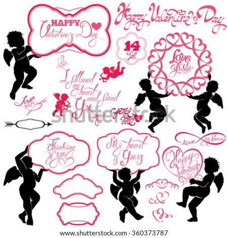 Set of cute angels, Calligraphic text Happy Valentine`s Day, hearts isolated on white background. Elements for holiday card design elements.  - stock vector