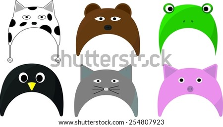 set of cute animal hat - stock vector