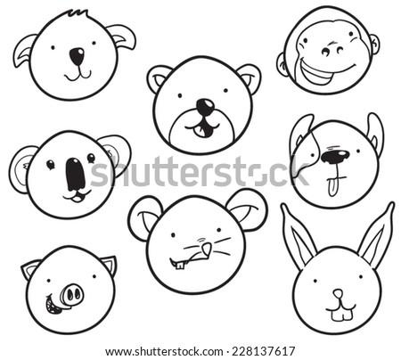 Set of cute animal heads - stock vector