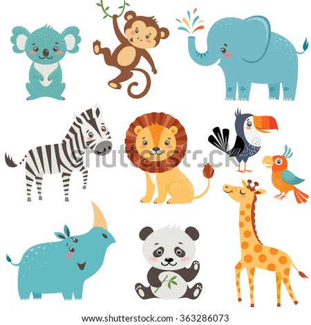 Set of cute animals isolated on white background - stock vector