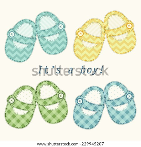 Set of cute baby boy shoes as retro fabric applique, ideal for baby shower - stock vector