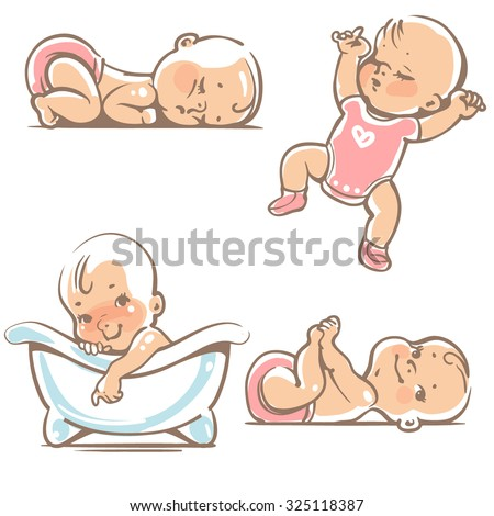 Set  of cute baby girls.  0-12 months. Various poses. First year activities. Sleeping positions, on stomach, on back, legs in hands.  Swimming in bath. Vector Illustration isolated on white background - stock vector