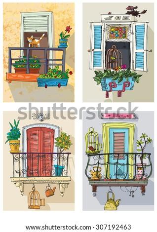set of cute balconies - cartoon - stock vector