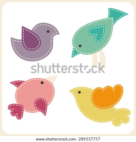 Set of cute birds. Stylized applique with white seams. Childish vector design elements - stock vector
