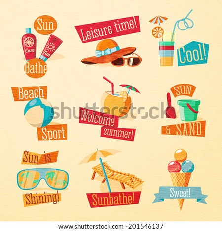 Set of cute bright summer icons with typographic elements. Tan and suncare cream, beach ball, hat and sun glasses, cocktail, sand paddle with bucket, chaise longue and umbrella, ice cream. Vector. - stock vector