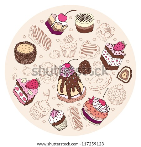 Set of cute cake. Multicolored Vector illustration - stock vector
