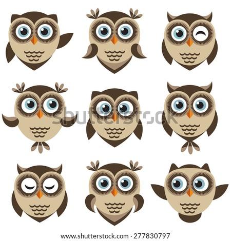 Set of cute cartoon brown owls - stock vector