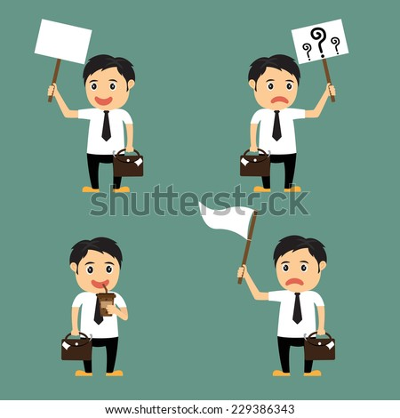 set of cute cartoon, businessman characters and office worker poses in various, use for advertising or presentation, vector illustration. - stock vector
