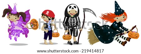 Set of cute cartoon characters. Kids dressed for Halloween with pumpkin baskets. - stock vector