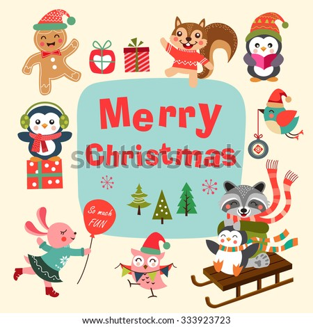 Set of cute cartoon Christmas characters. Vector illustration. - stock vector