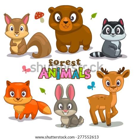 Set of cute cartoon forest animals, childish vector illustration - stock vector