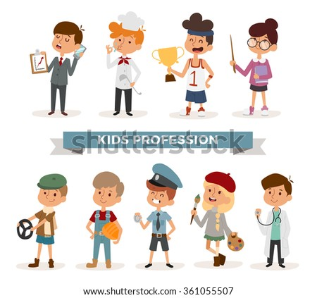 Set of cute cartoon professions kids. Painter, sportsman, cook chef, builder. Policeman, doctor, artist and driver, businessman. Funny cartoon boys kids. Professions kids children vector. Profession - stock vector