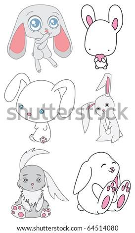 Set of cute cartoon rabbits. Vector illustration. - stock vector