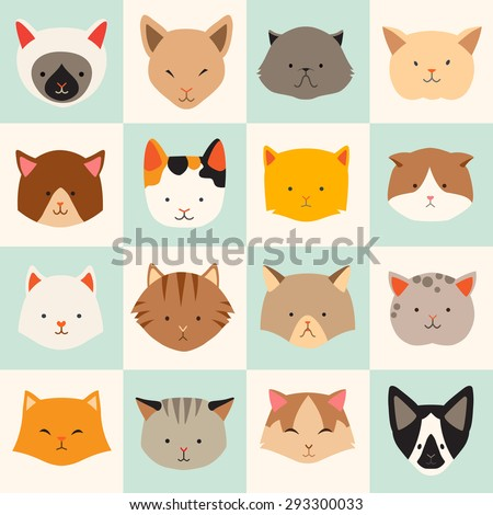 Set of cute cats icons, vector flat illustrations. Cat breeds, pattern, card, game graphics. - stock vector